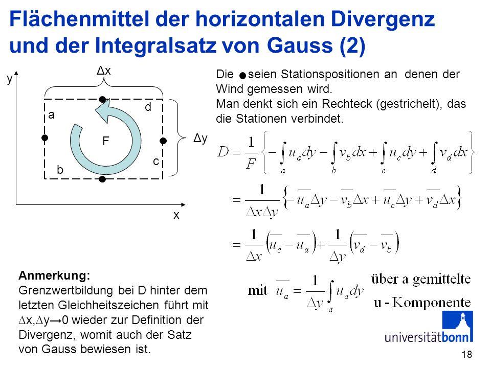 Flächenmittel der horizontalen Divergenz und der Integralsatz von Gauss (2)