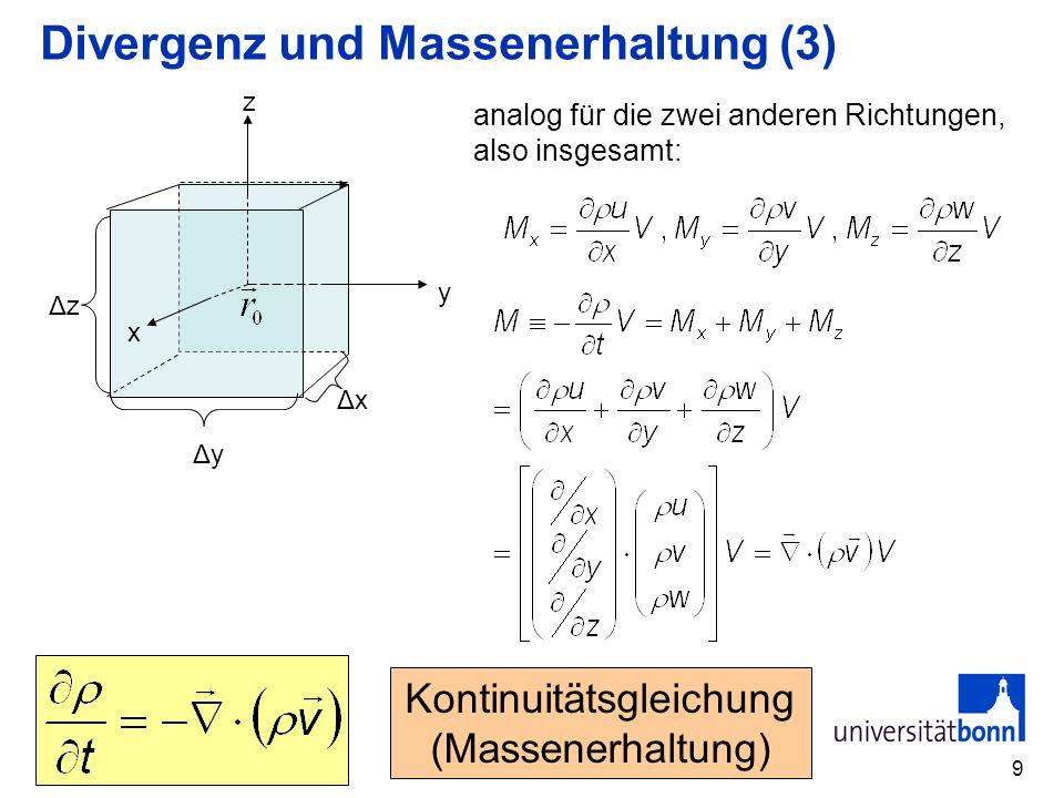 Divergenz und Massenerhaltung (3)