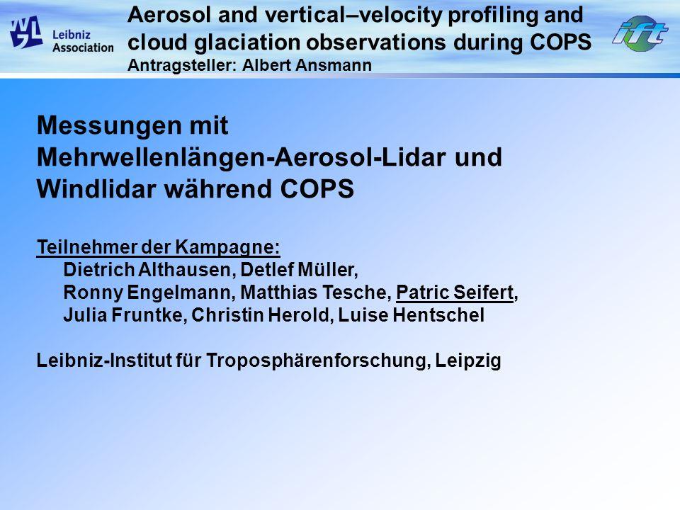 Mehrwellenlängen-Aerosol-Lidar und Windlidar während COPS