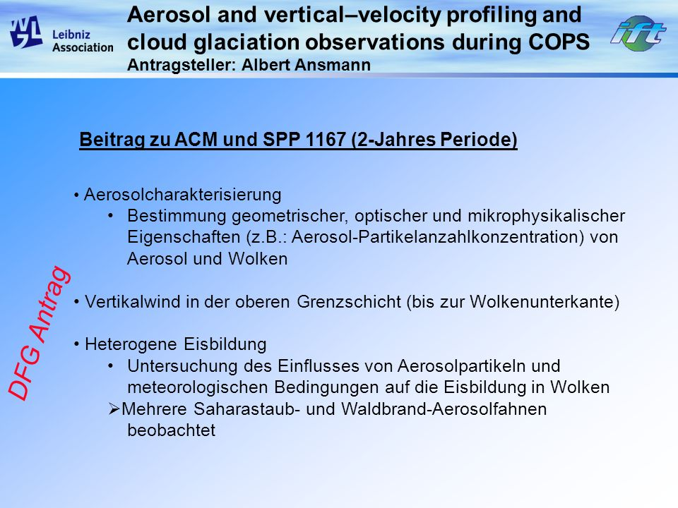 DFG Antrag Aerosol and vertical–velocity profiling and