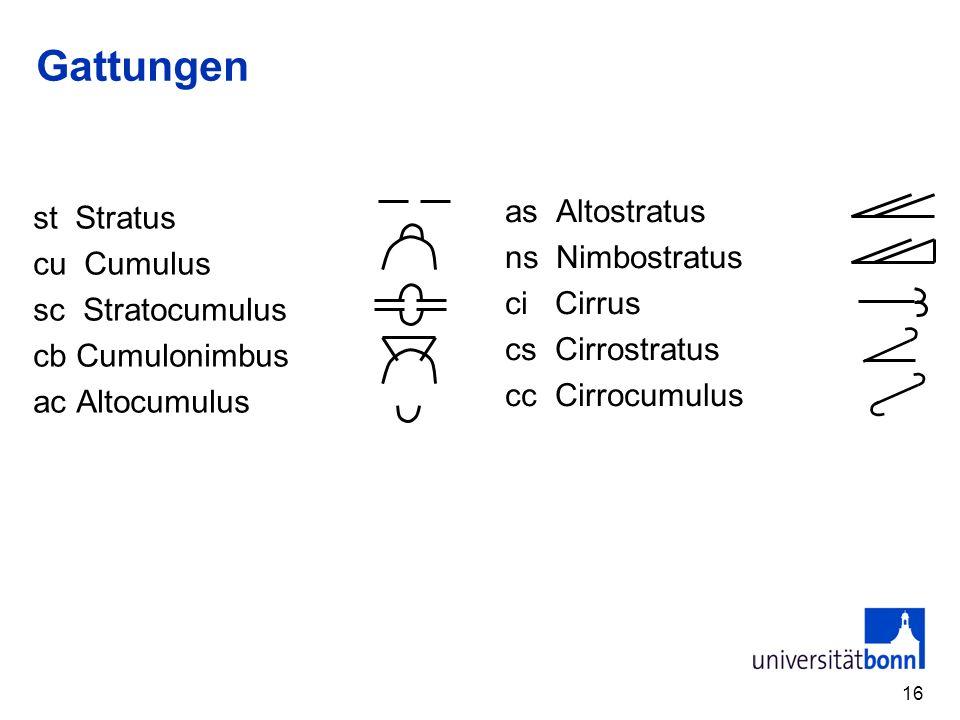 Gattungen as Altostratus st Stratus ns Nimbostratus cu Cumulus