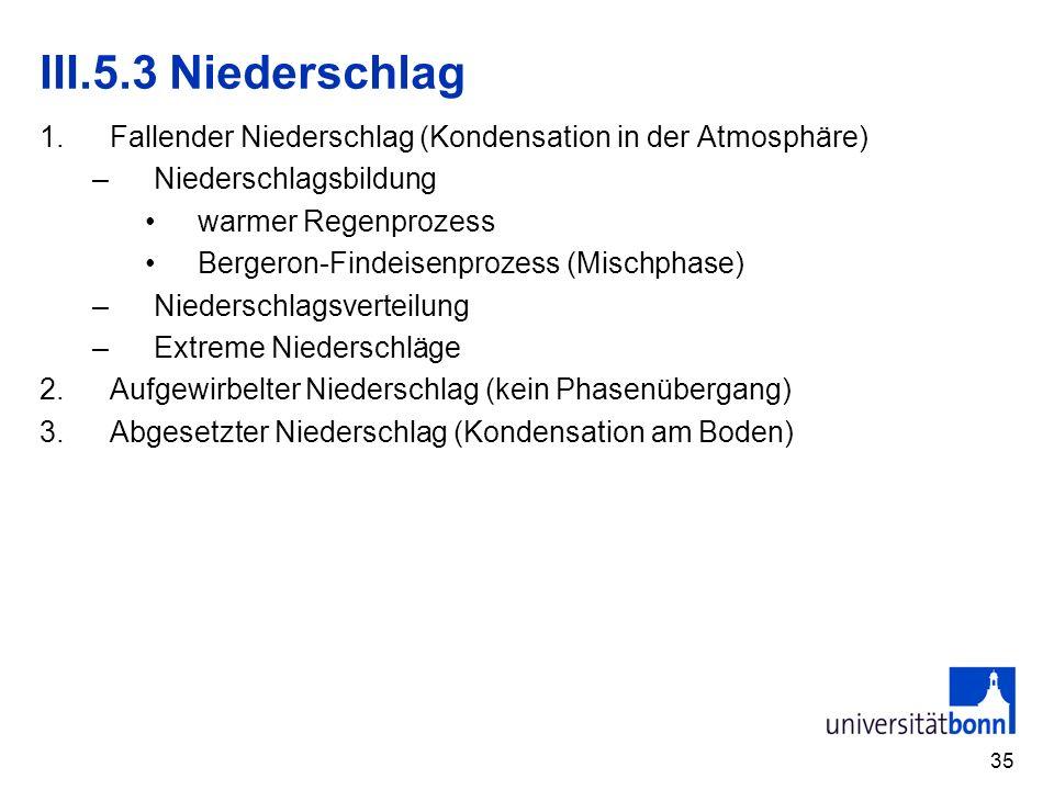 III.5.3 Niederschlag Fallender Niederschlag (Kondensation in der Atmosphäre) Niederschlagsbildung.
