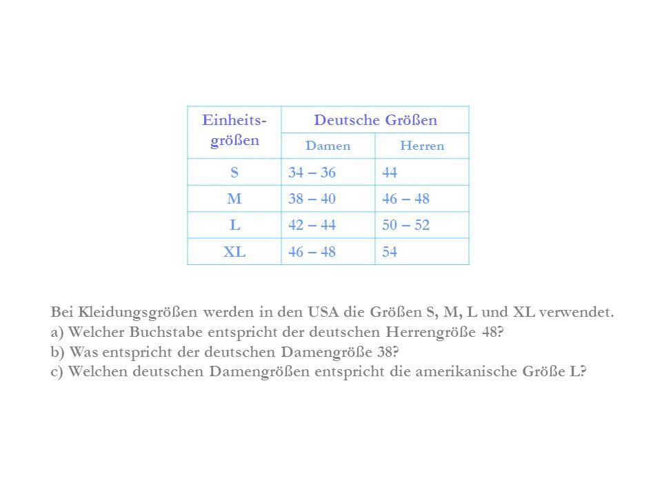 Einheits-größen Deutsche Größen S M L XL