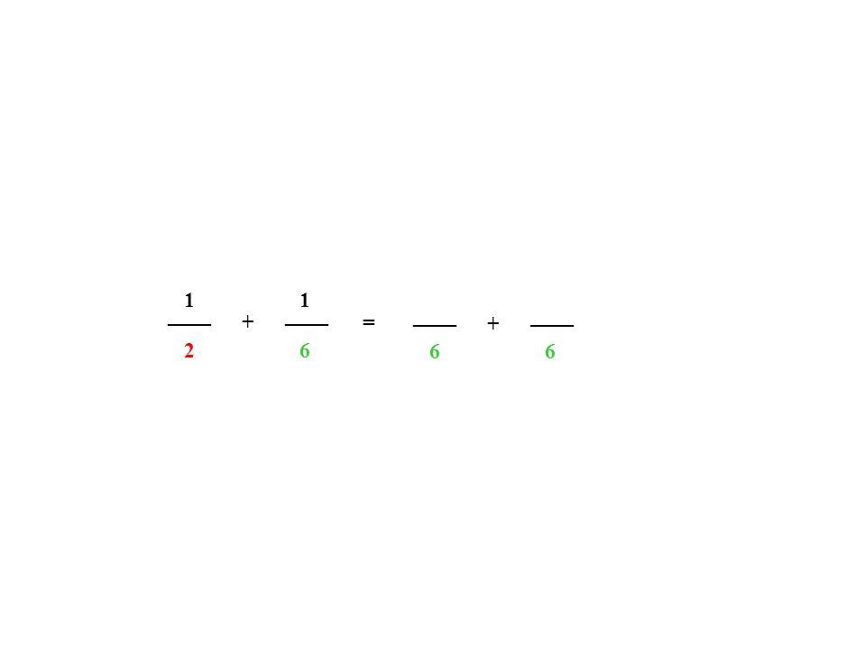 1 1 ____ ____ ____ ____ + = + 2 6 6 6