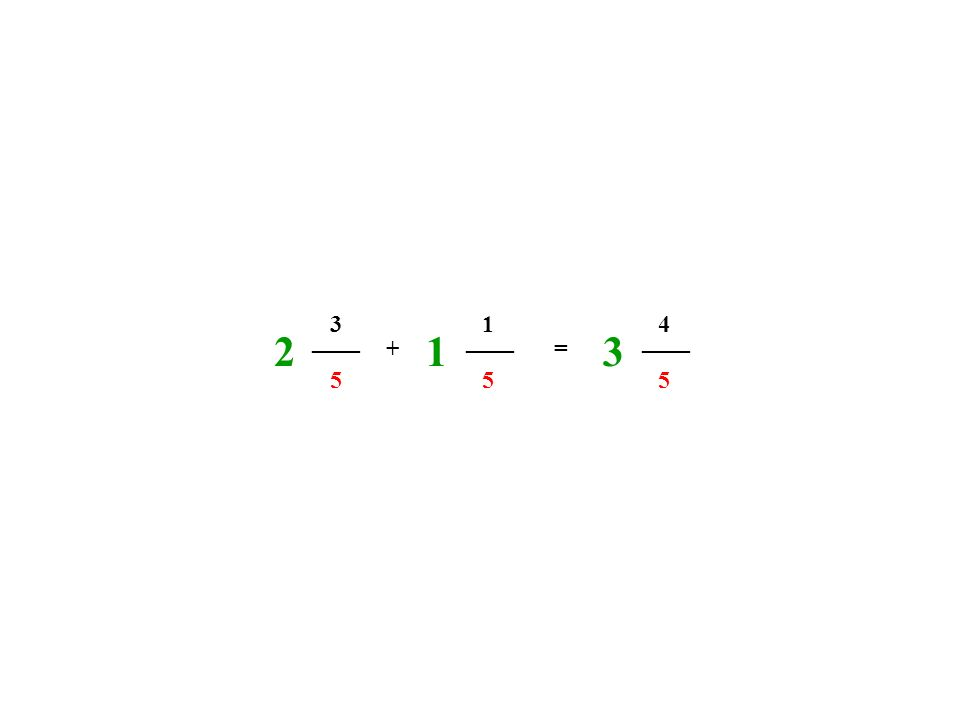 3 1 4 2 ____ 1 ____ 3 ____ + = 5 5 5