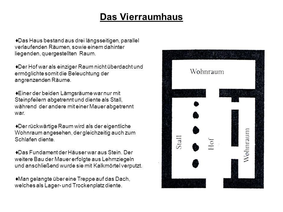 Das Vierraumhaus Das Haus bestand aus drei längsseitigen, parallel verlaufenden Räumen, sowie einem dahinter liegenden, quergestellten Raum.