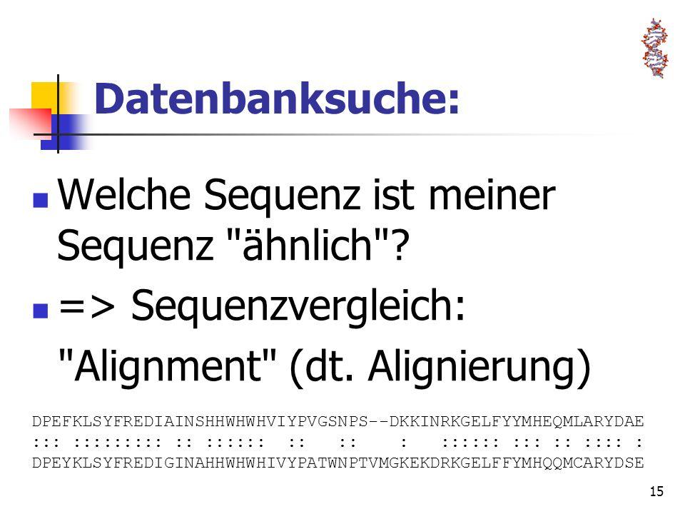 Welche Sequenz ist meiner Sequenz ähnlich => Sequenzvergleich: