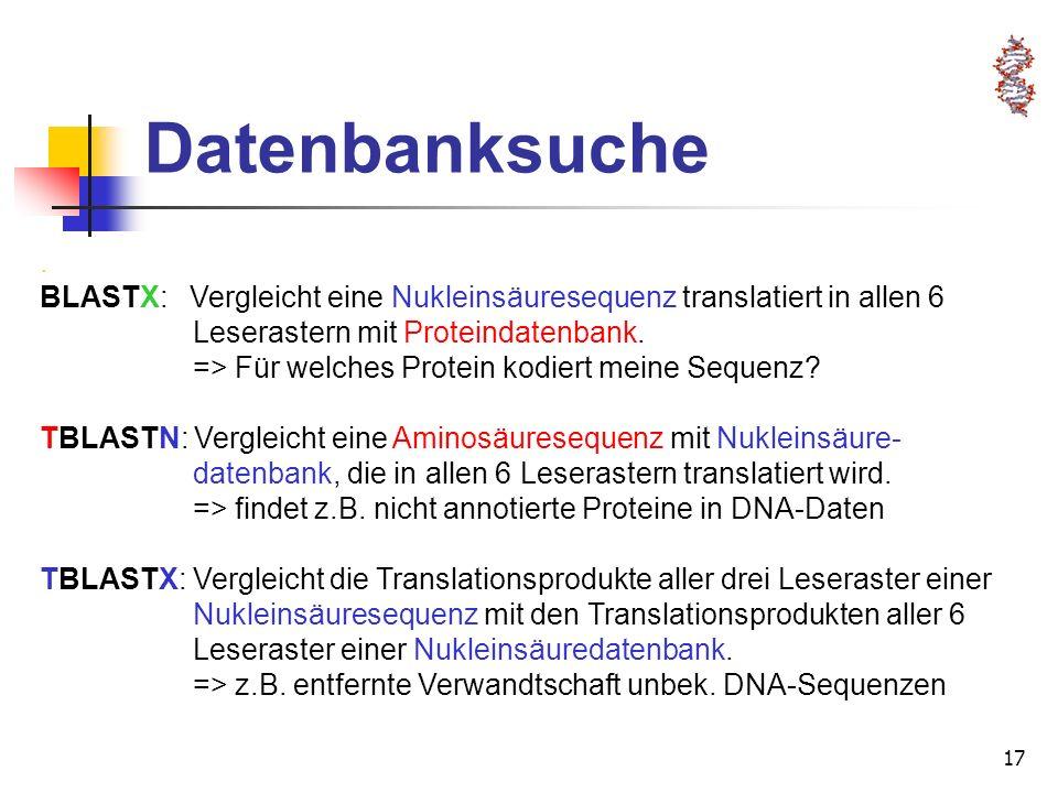 Datenbanksuche . BLASTX: Vergleicht eine Nukleinsäuresequenz translatiert in allen 6. Leserastern mit Proteindatenbank.