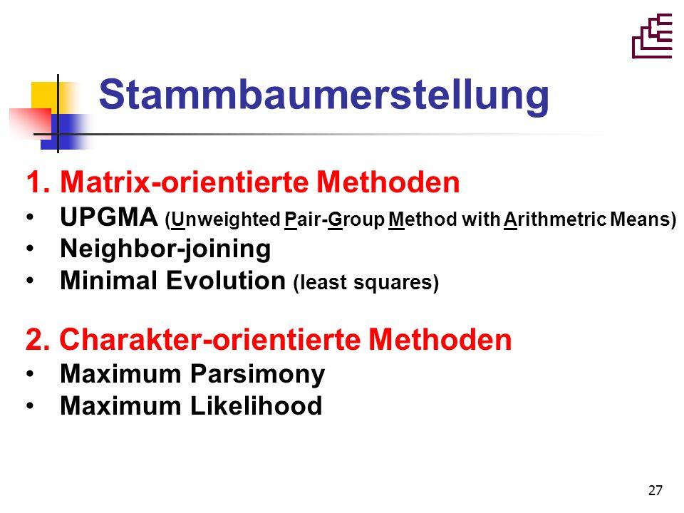 Stammbaumerstellung Matrix-orientierte Methoden