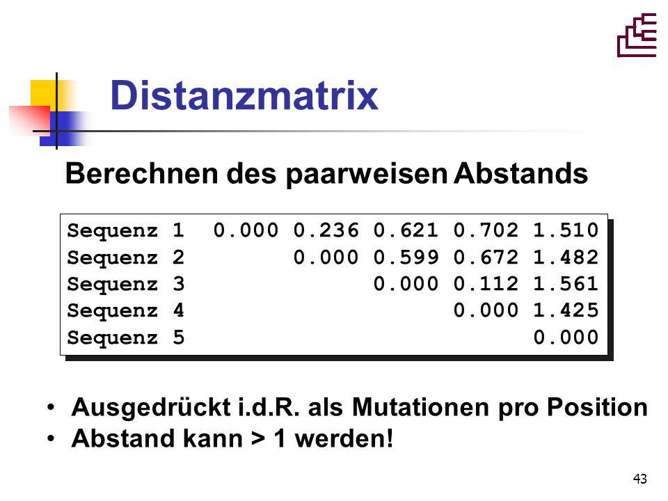 Distanzmatrix Berechnen des paarweisen Abstands