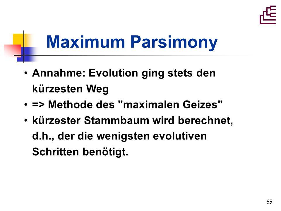 Maximum Parsimony Annahme: Evolution ging stets den kürzesten Weg