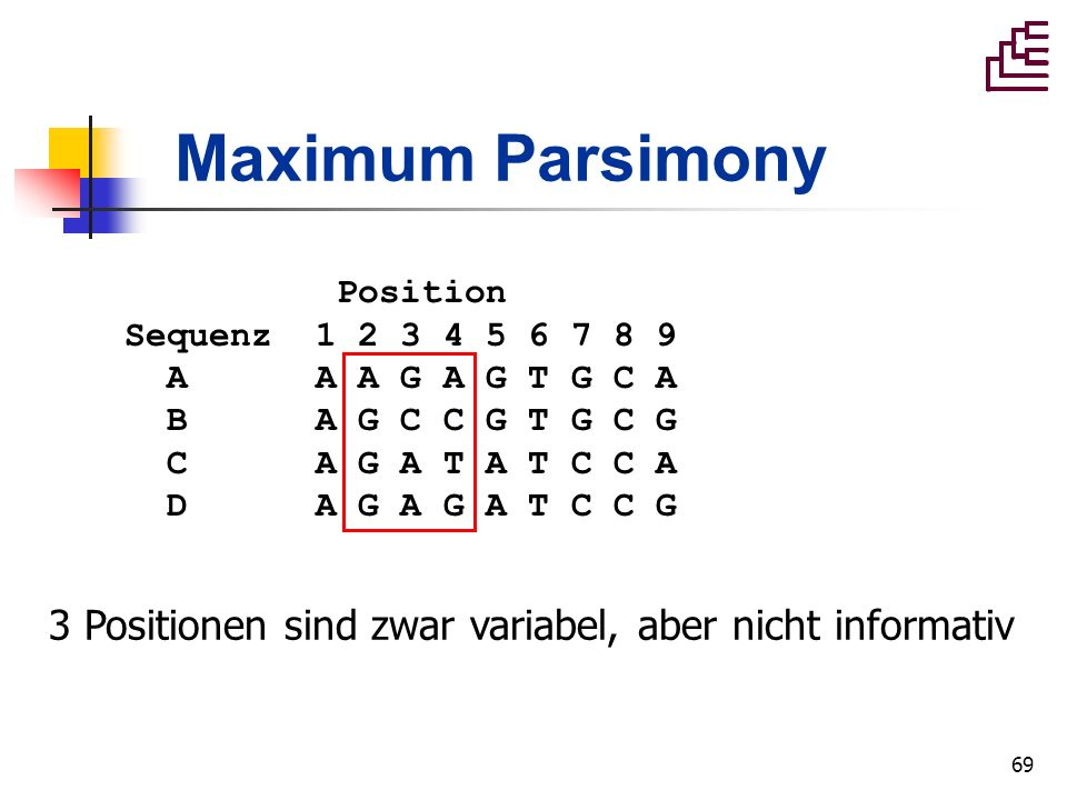 Maximum Parsimony Position. Sequenz 1 2 3 4 5 6 7 8 9. A A A G A G T G C A. B A G C C G T G C G.