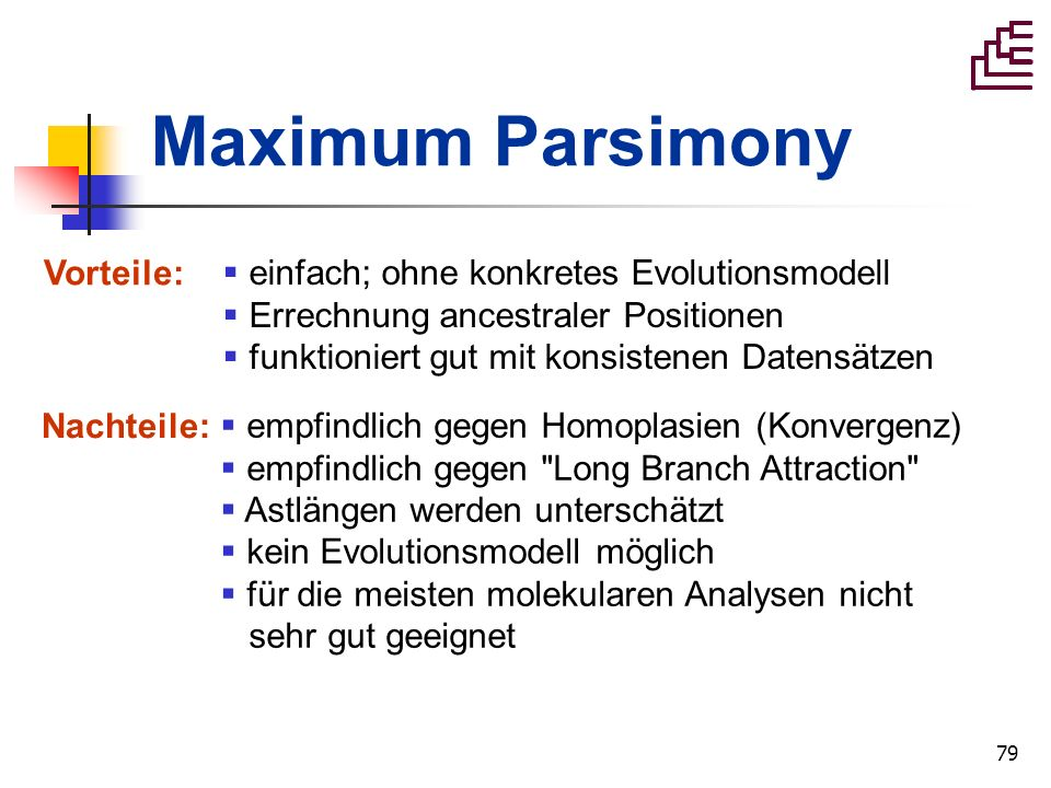 Maximum Parsimony Vorteile: einfach; ohne konkretes Evolutionsmodell