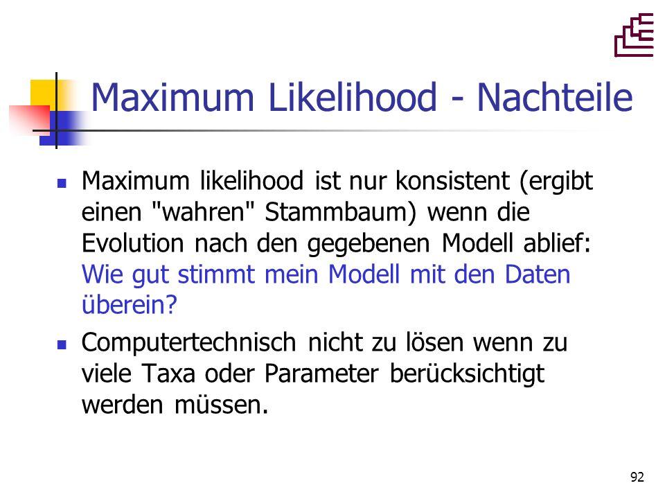 Maximum Likelihood - Nachteile
