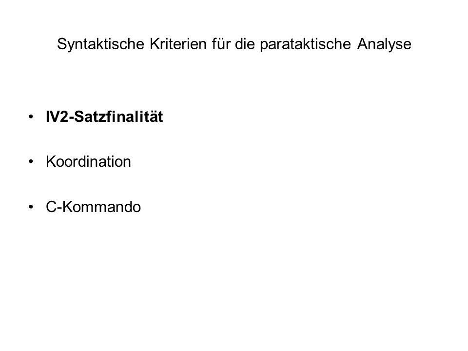 Syntaktische Kriterien für die parataktische Analyse