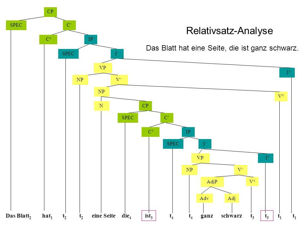 Relativsatz-Analyse Das Blatt hat eine Seite, die ist ganz schwarz.