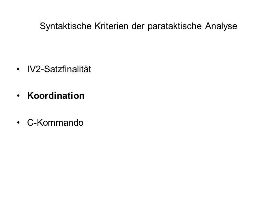 Syntaktische Kriterien der parataktische Analyse