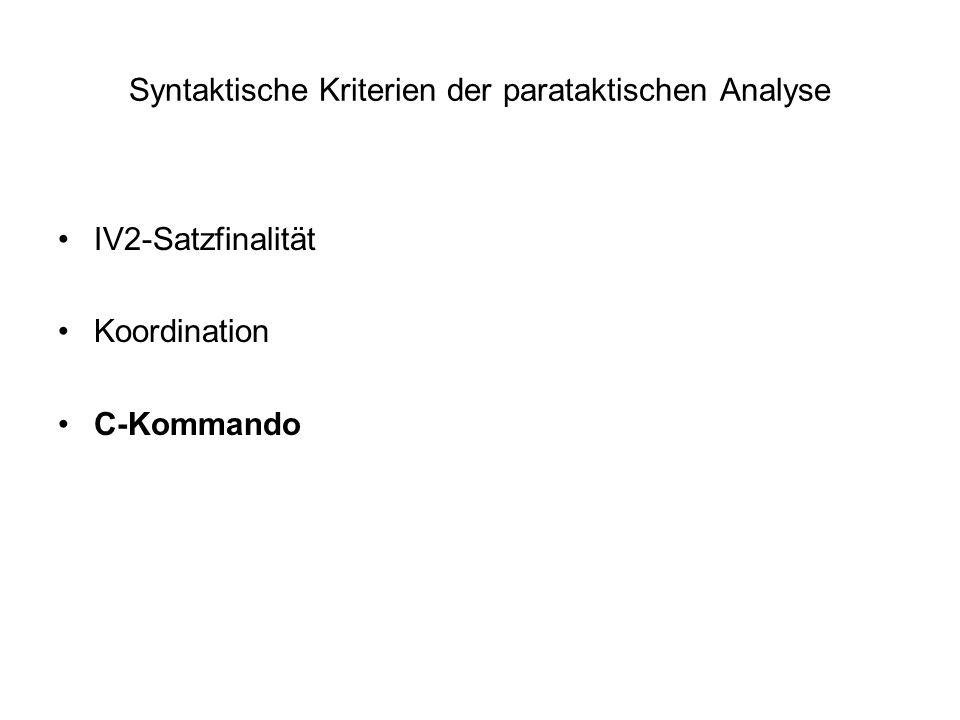 Syntaktische Kriterien der parataktischen Analyse