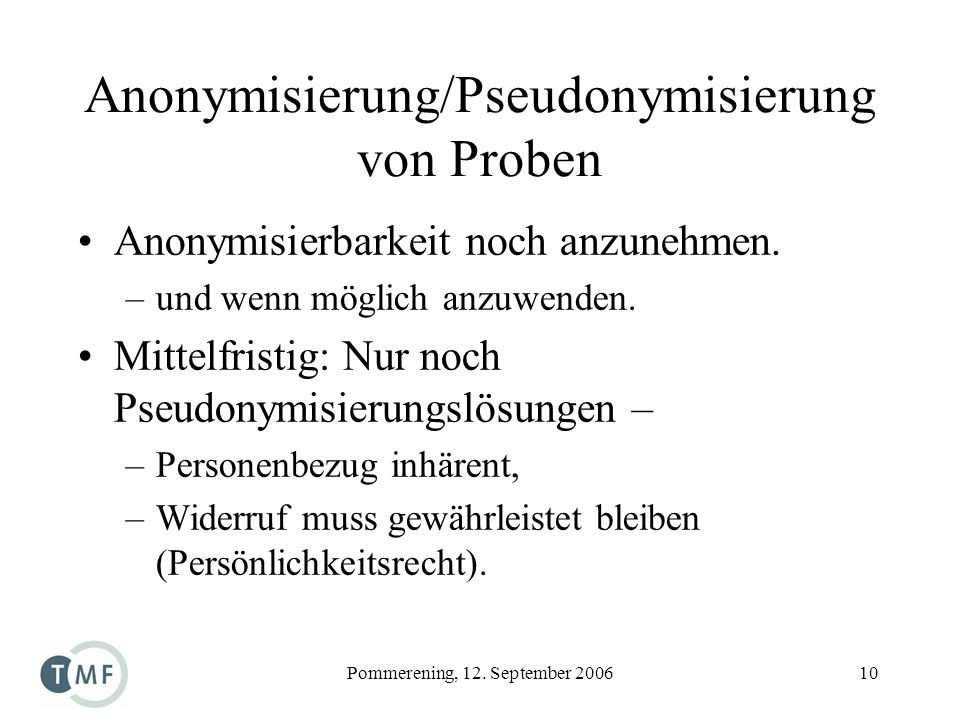 Anonymisierung/Pseudonymisierung von Proben
