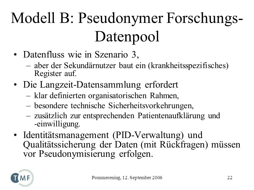 Modell B: Pseudonymer Forschungs-Datenpool