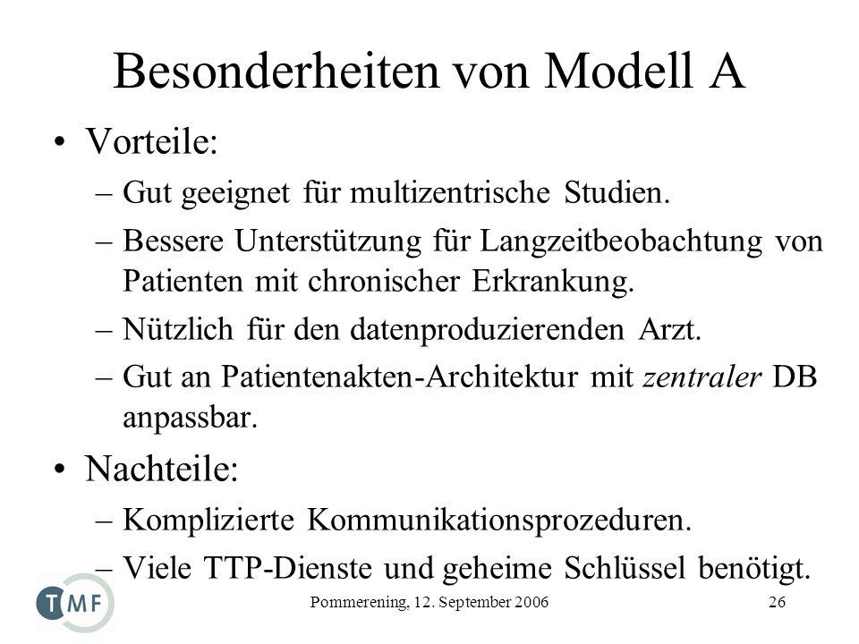 Besonderheiten von Modell A