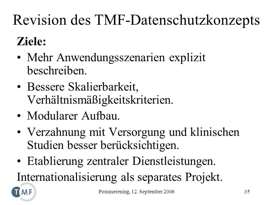Revision des TMF-Datenschutzkonzepts