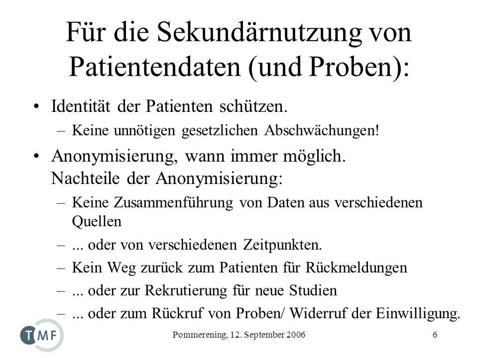 Für die Sekundärnutzung von Patientendaten (und Proben):