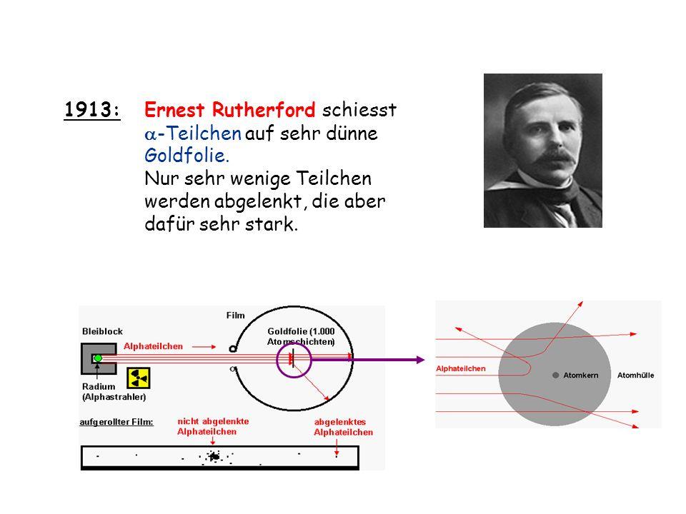 1913: Ernest Rutherford schiesst. -Teilchen auf sehr dünne. Goldfolie. Nur sehr wenige Teilchen.