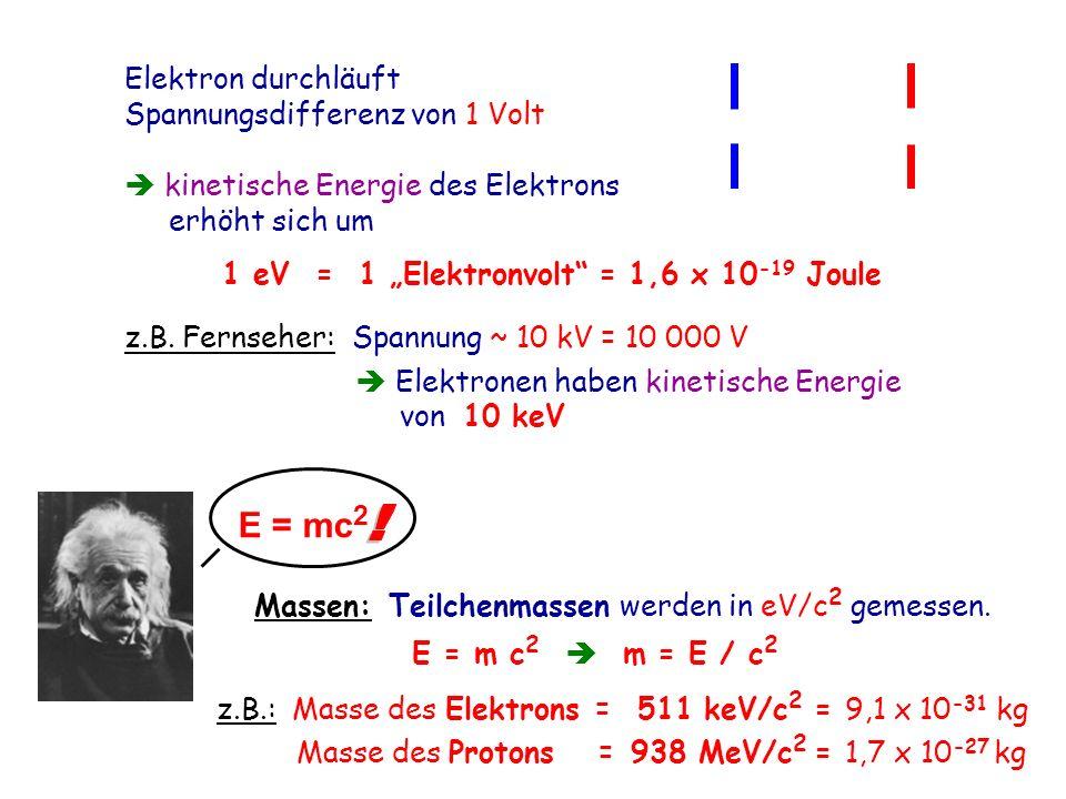 E = mc2 ! Elektron durchläuft Spannungsdifferenz von 1 Volt