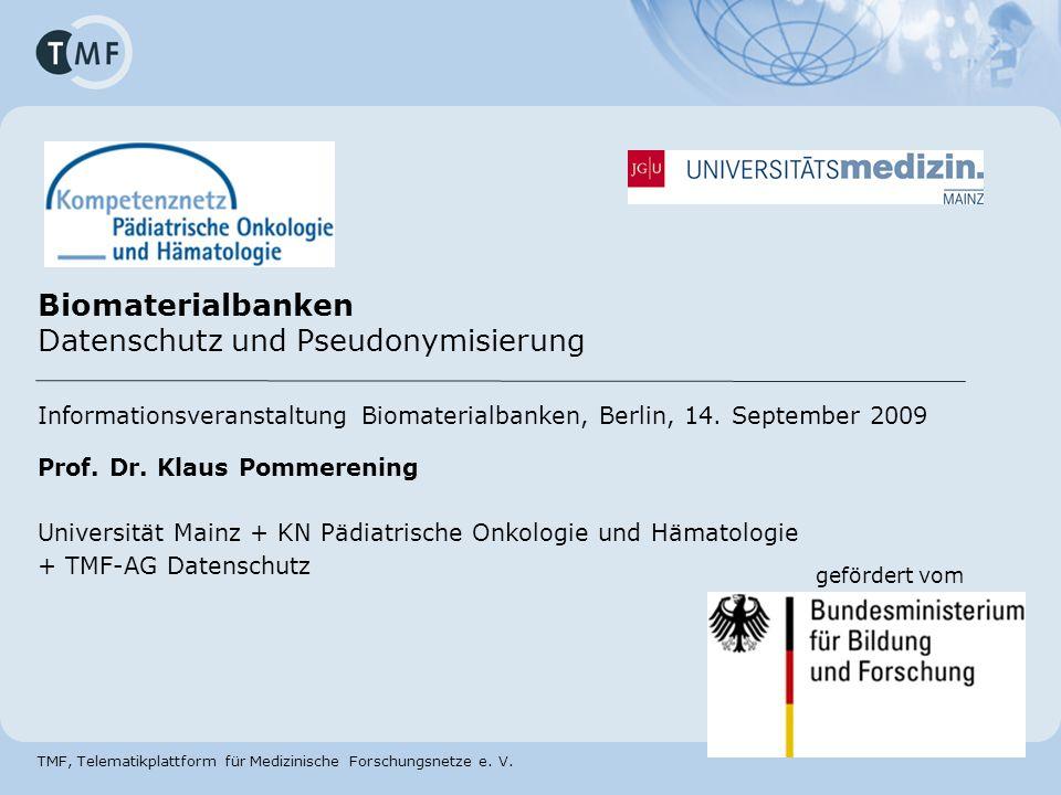 Biomaterialbanken Datenschutz und Pseudonymisierung