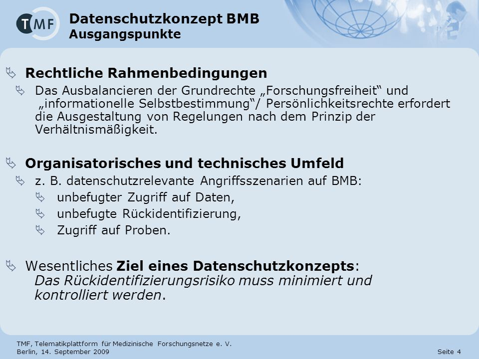Datenschutzkonzept BMB Ausgangspunkte