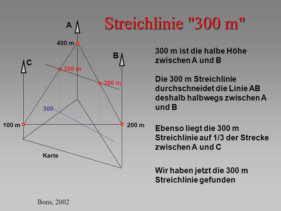 Streichlinie 300 m A 300 m ist die halbe Höhe zwischen A und B B C
