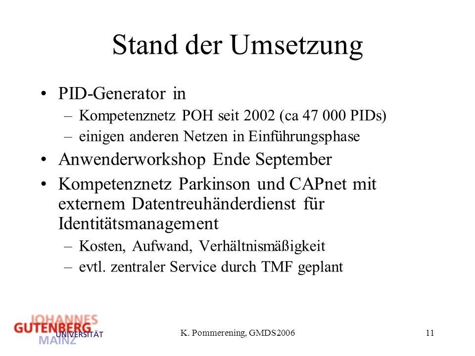 Stand der Umsetzung PID-Generator in Anwenderworkshop Ende September