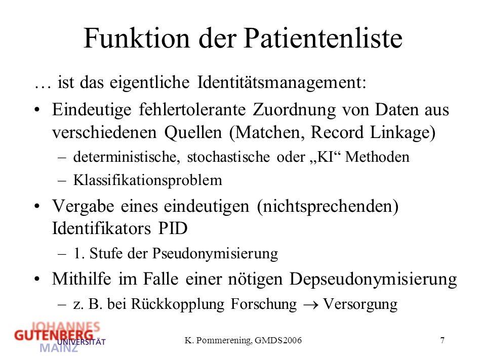Funktion der Patientenliste