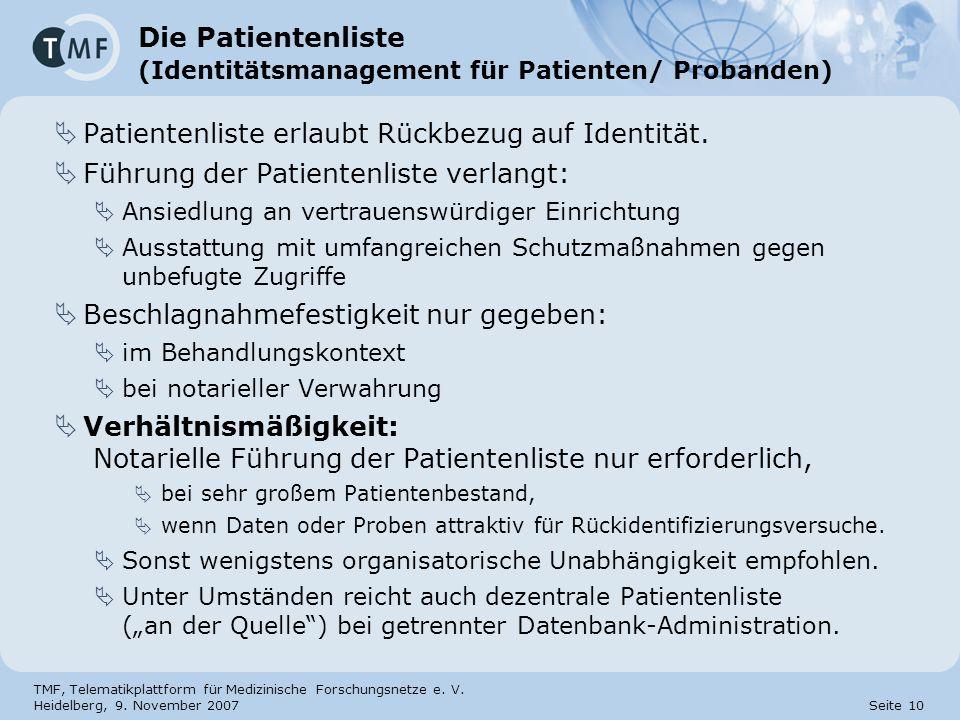 Die Patientenliste (Identitätsmanagement für Patienten/ Probanden)