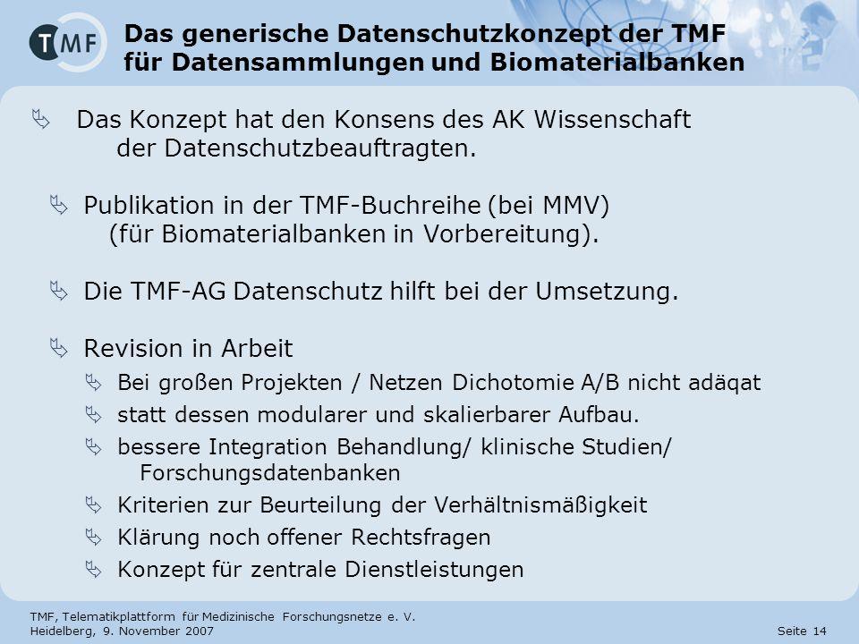 Die TMF-AG Datenschutz hilft bei der Umsetzung. Revision in Arbeit