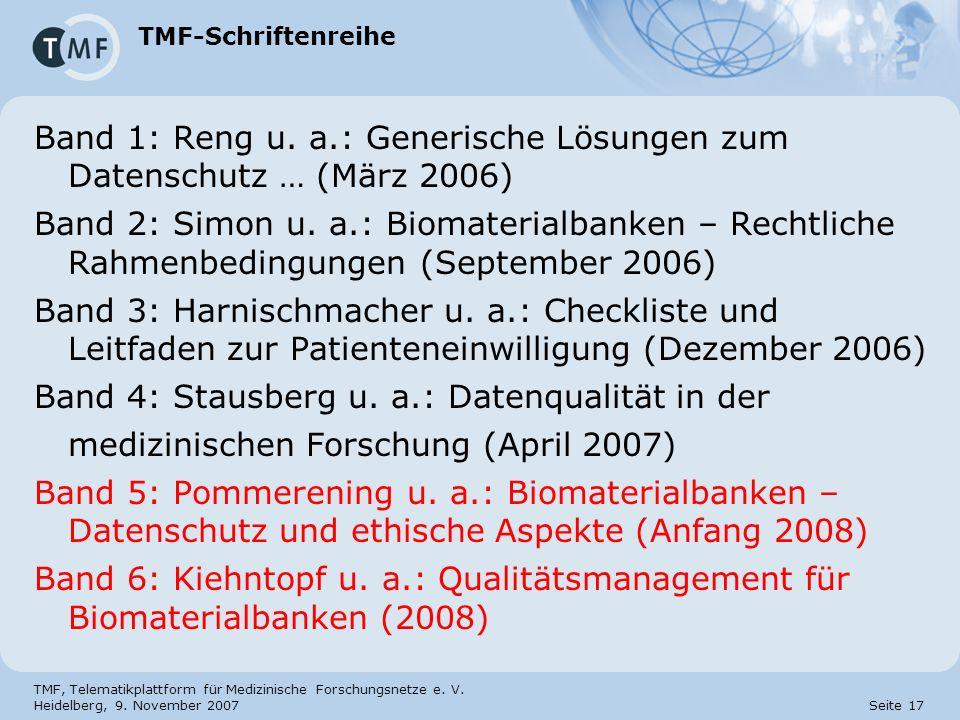Band 1: Reng u. a.: Generische Lösungen zum Datenschutz … (März 2006)
