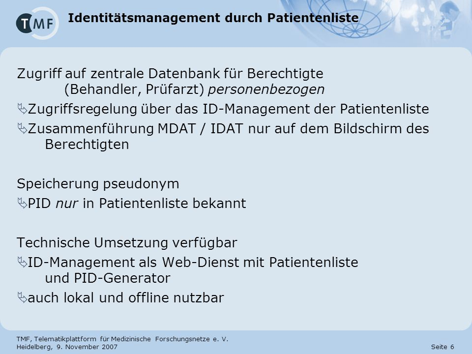 Identitätsmanagement durch Patientenliste