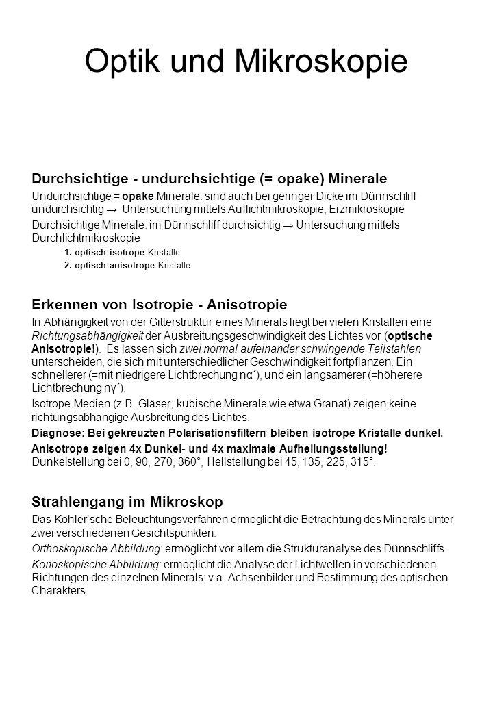 Optik und Mikroskopie Durchsichtige - undurchsichtige (= opake) Minerale.
