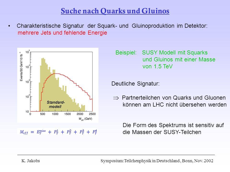 Suche nach Quarks und Gluinos