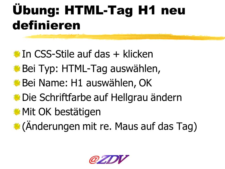 Übung: HTML-Tag H1 neu definieren