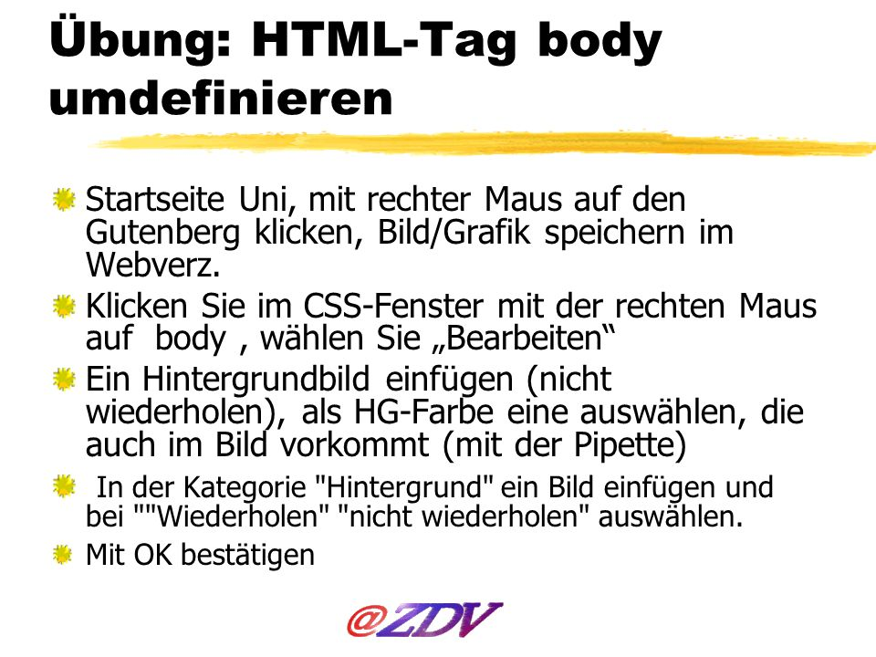 Übung: HTML-Tag body umdefinieren