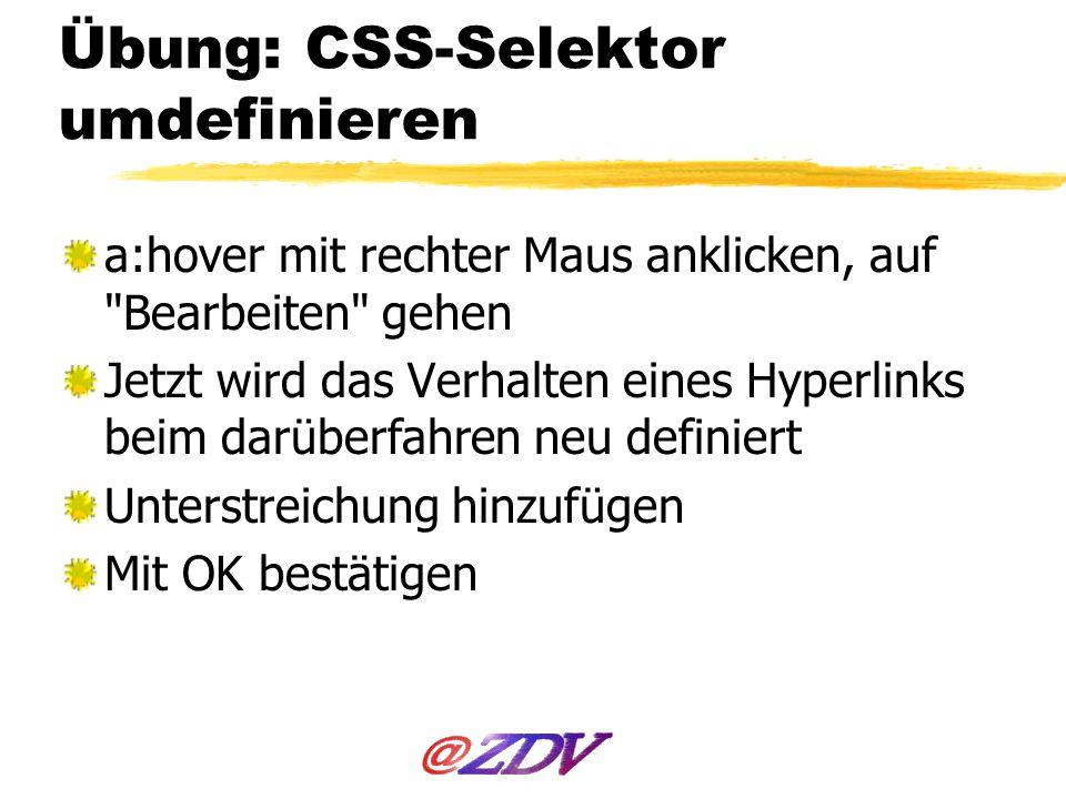 Übung: CSS-Selektor umdefinieren