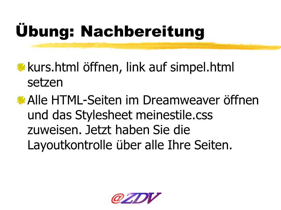 Übung: Nachbereitung kurs.html öffnen, link auf simpel.html setzen