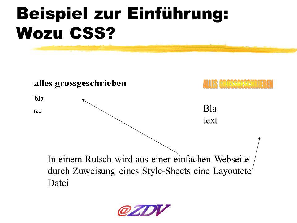 Beispiel zur Einführung: Wozu CSS
