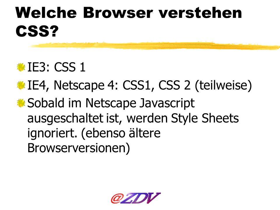 Welche Browser verstehen CSS