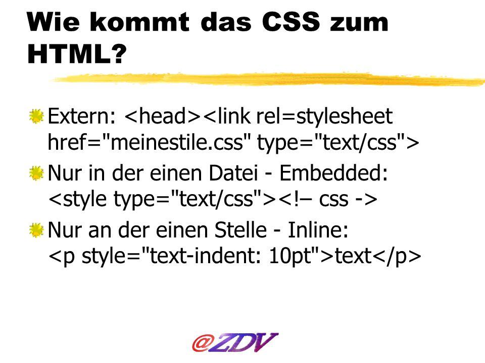 Wie kommt das CSS zum HTML