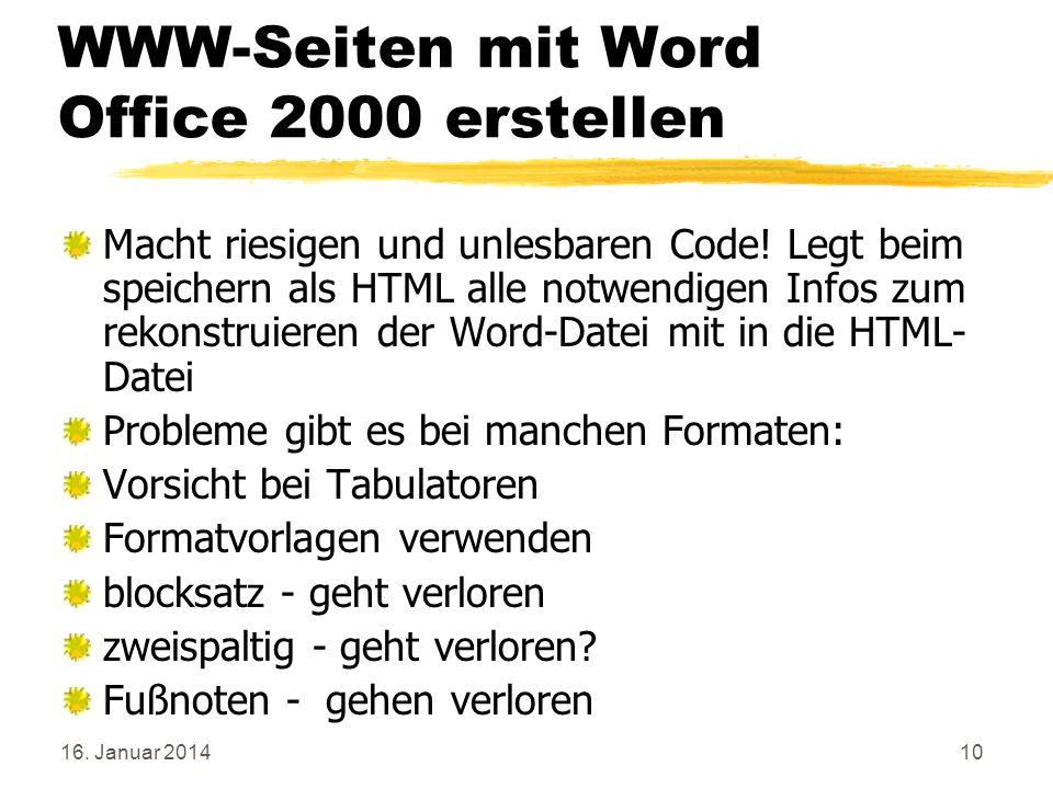 WWW-Seiten mit Word Office 2000 erstellen