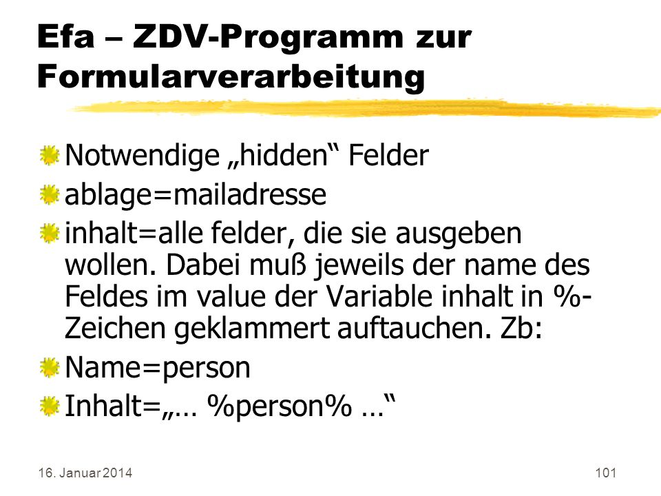 Efa – ZDV-Programm zur Formularverarbeitung