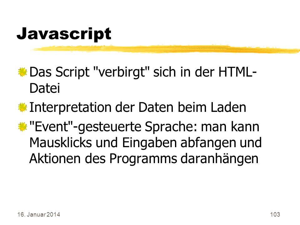 Javascript Das Script verbirgt sich in der HTML-Datei